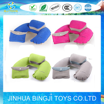 flocked pvc inflatable pillow inflatable neck pillow