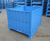 Heavy duty steel storage crate for warehouse rack