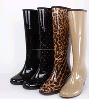 wholesale rain boots of China Factory leopard rain boots for lady PVC rain boots