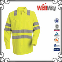 Long sleeve hi vis reflective tape real oil refinery work wear shirts