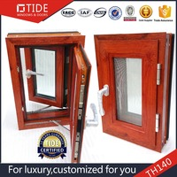 high quality wood grain color windows double glaze with screen