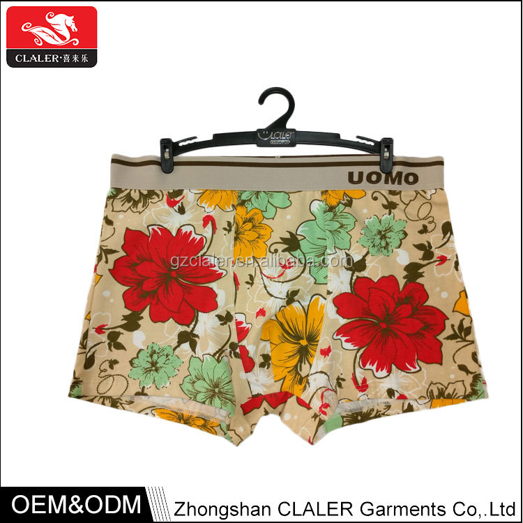 High quality printed knitted sexy boxers for men cotton