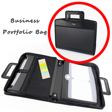 High Quality Expandable Canvas 6 Pockets Document Conference Presentation Folder Bag Briefcase Portfolio Folder Attache Case