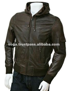 Men's Brown Half Perforated Leather Hoodie