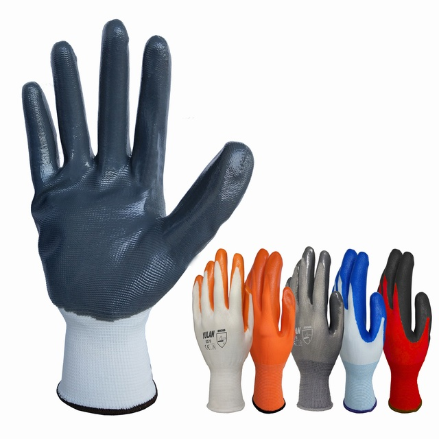 13 gauge polyester grey nitrile Coated safety work gloves cheap price