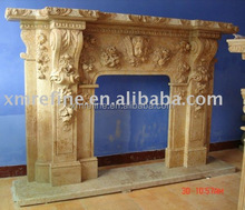 sandstone yellow carved outdoor fireplace mantel