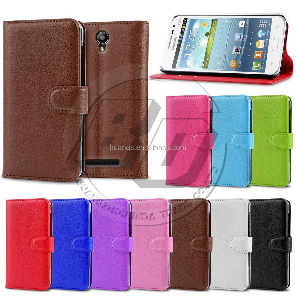 Litchi Grain PU Leather Flip Card Slot Wallet Stand Back Cover Case For Samsung Galaxy Win i8552