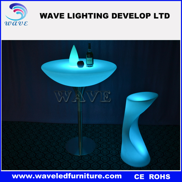High quality led bar plastic top cocktail table/plastic dining table