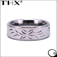 New Design Customized Hand Engraved Flower Tungsten Ring