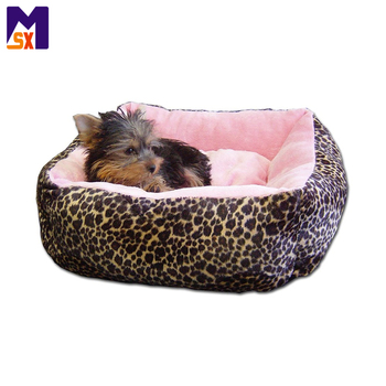 Custom luxury soft puppy dog beds leopard plush pet bed