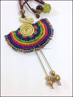 Macrame Fashion Charms Necklace Pendant Handmade with Beads, Brass - Vintage Gypsy Hippie Latin Egypt Bohemian Style