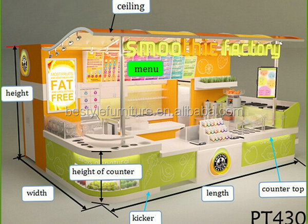 China supply high quality smoothies kiosk fruit drink bar kiosk design