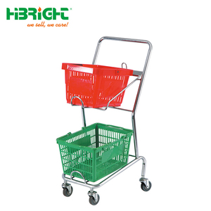 2-tier supermarket wagon 2 tier super market carriage hypermarket buggy grocery trundler double basket shopping trolley cart
