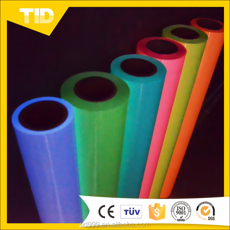 2016 Hot Sale Glow In Dark Flex PU heat transfer vinyl Hight Quality for t-shirt Custom size