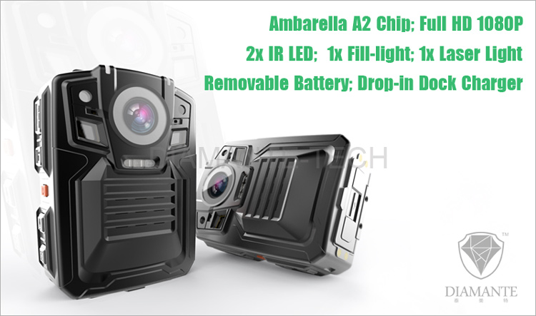 Removable 1950mAH battery 1080p Full HD video Drop-in dock charger Police Camera Body Worn Camera