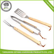 Favorite 3pcs Wooden Handle Stainless Steel BBQ Tools