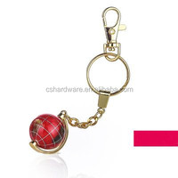 Custom made metal Sphere globe keychain wholesale