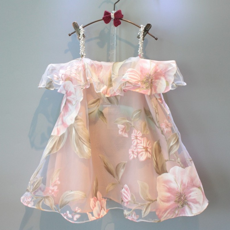 B10571A new fashion girl floral strapless dress elegant dress for kids girl