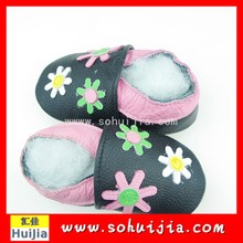 Summer second hand colorful small flower cow leather embroidered flat shoes for baby