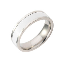 Bishun Drop oil plating black and white simple titanium steel couple ring