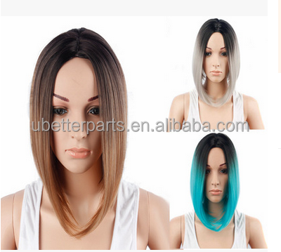 ombre bob synthetic wig short straight