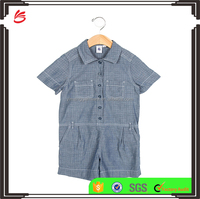 2017 Children custom baby clothes button up romper cotton jumpsuit infant toddler kids clothing