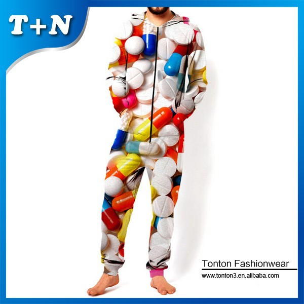 adult hooded causal fitted polyester mens onesie