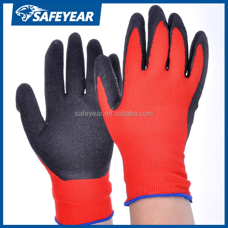 Latex gloves in safety gloves,red latex coated work safety gloves