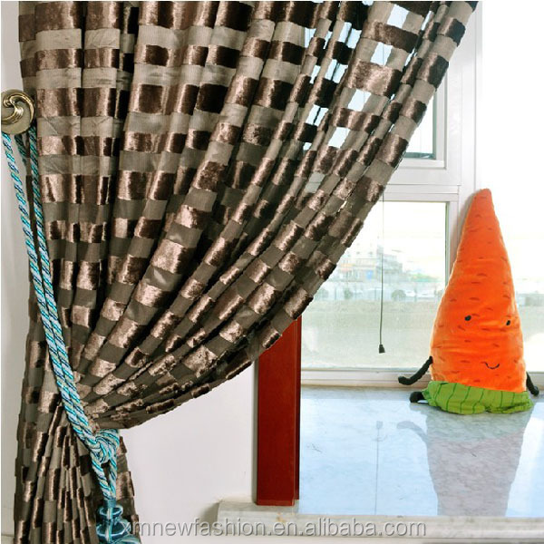 stripe curtain flocked