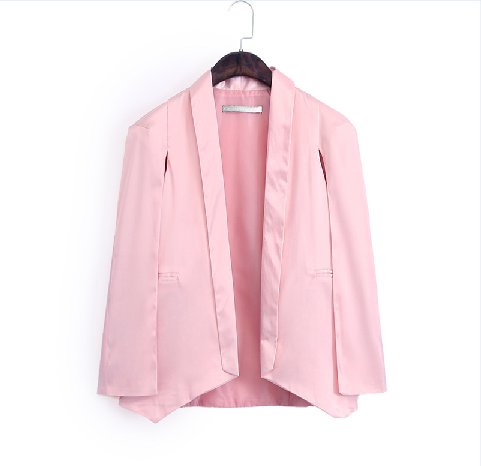 2015 Women Brand Pink/White/Black Solid Blazer Long Sleeve Chiffon Fashion Casual Blazers