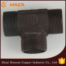 Hydraulic pipe fitting male threaded 90 degree equal Iron tee,the black tee
