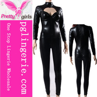 Sex Leather Jumpsuits For Women Long Sleeve Sexy Jumpsuit Black Leather Catsuit