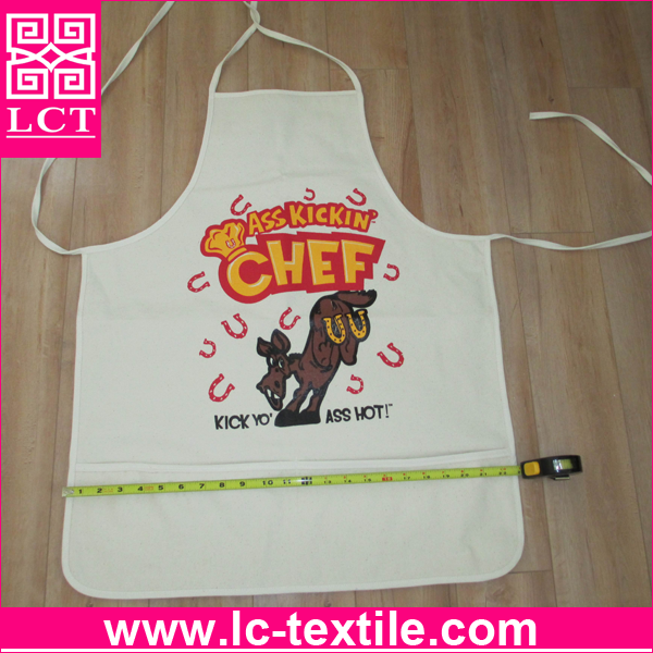supply 2015 best seller 100% AZO free ink screen printed promotion kid apron features big front pocket(LCTA0074)