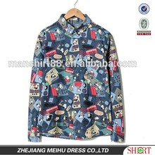 2016 Cartoon printed men denim casual shirt