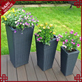 Outdoor tall large stackable 3-pc plastic rattan garden pots and planters