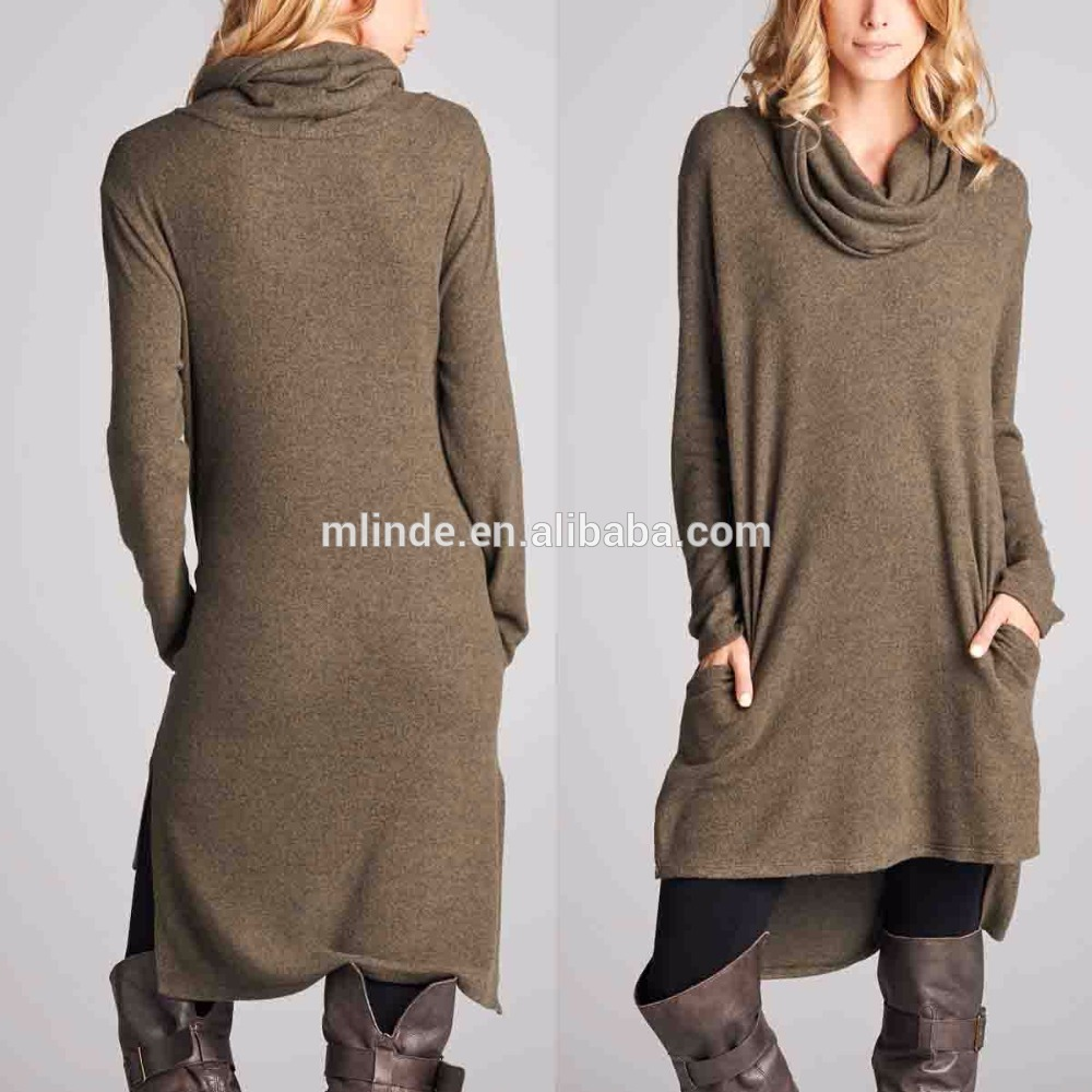 Tunic Dress Pakistani Women Long Sleeve Rayon Spandex Lightweight Cowl Neck Hi-Low Tunic Dress Bulk Wholesale Clothing