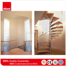 Modern stainless steel wooden curved stairs