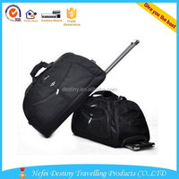 2015 fashionable sport aluminium trolley system polyester luggage bag