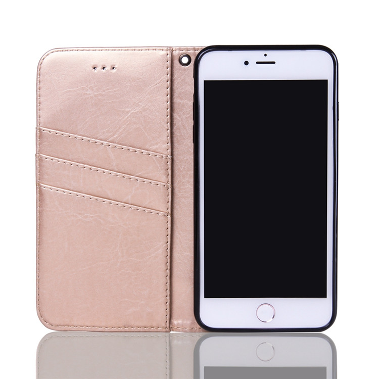 PU Leather Wallet Case Magnetic Closure Flip Book Design Folio Protective Cover Cases for Apple iPhone 7 4.7