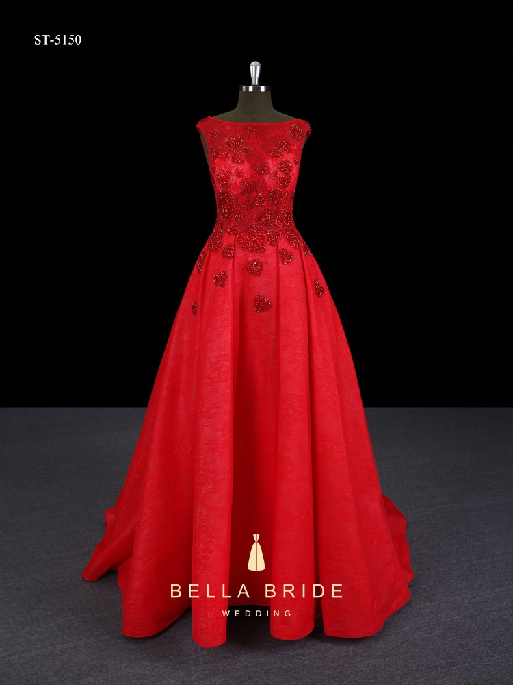 Classical red long tulle hemline beading bridal dress wedding with deep V back