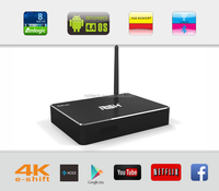 Android XBMC Koid 14.0 smart tv box android 4.4 Quad core 4k satellite receiver install facebook &skype &Wifi set top box