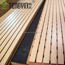 Europe market ISO certificate home interior wall decoration Tengyin grooved wooden timber sound insulation board