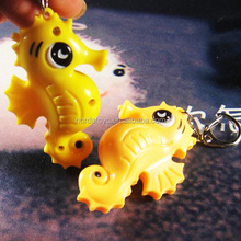 cheap animal shape seahorse keychain with LED light