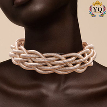 NYQ-00958 India thread rope multicolor choker necklace and bracelet set jewelry with magnetic clasp hot sell statement necklace