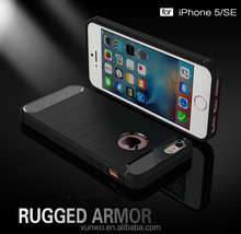 Brush Carbon Fiber Pattern TPU shock proof Mobile Phone Case Back Cover For iPhone 5