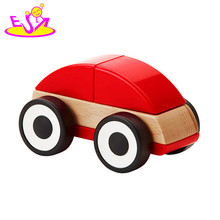 2017 new design cartoon baby wooden toy vehicles for sale W04A338