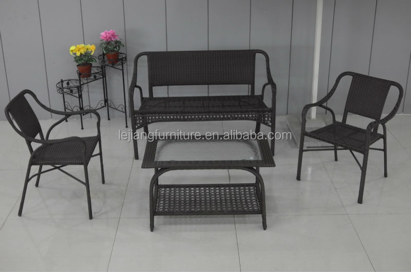 arm rattan chair and glass top rattan coffee tables