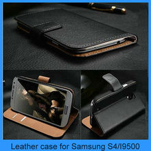 For Samsung s4 case Luxury Genuine Real Leather Flip Case Wallet Cover For Samsung Galaxy S4(PT-S4L245)