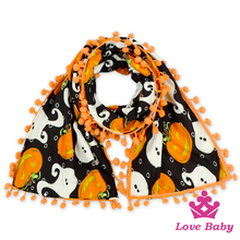 Halloween Pattern Printed Scarf Kids Baby Cotton & Polyester Neckerchief Stylish Scarf Muffler For Girls