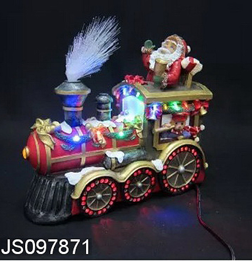 Resin Santa claus driving train with fiber optic deccoration, for Christmas decoration